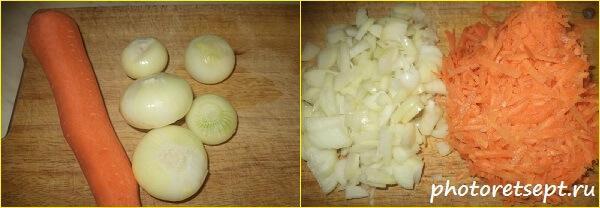 4 чистим и нарезаем лук и морковь