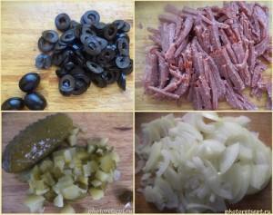 маслины колбаса огурцы и лук