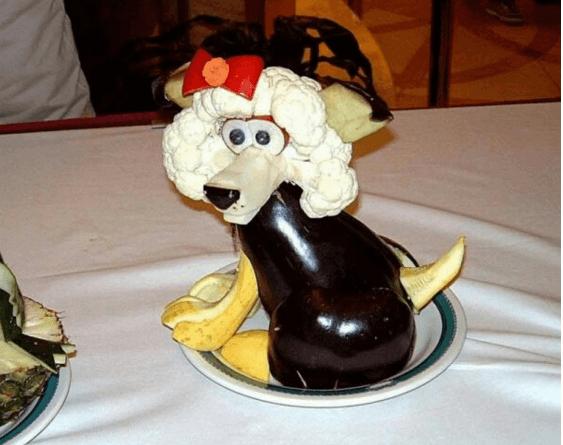 собака украшение салата