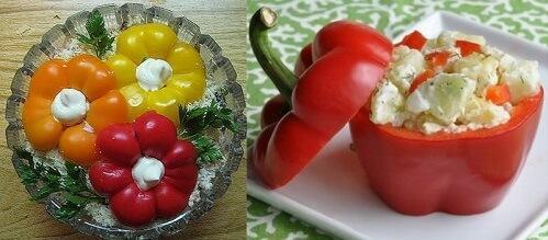 украшение салата перцем