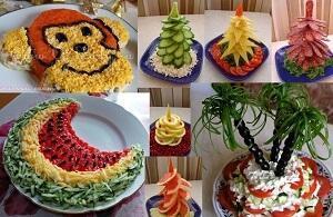 украсить салат обезьяна