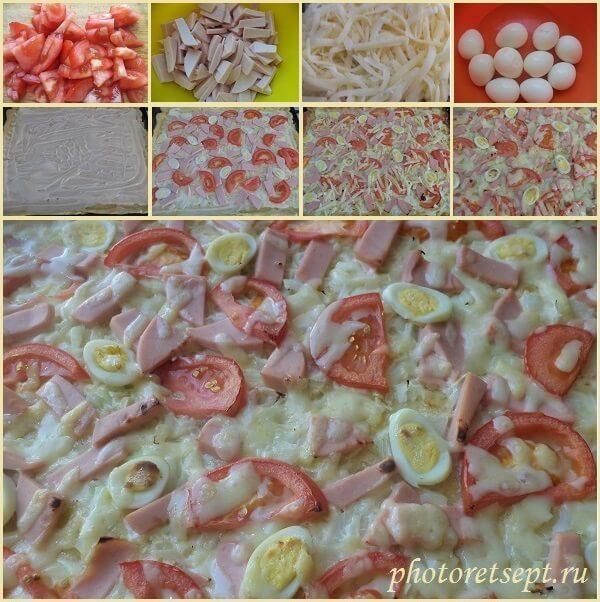 домашняя пицца с колбасой рецепт фото