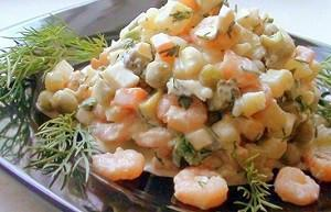 оливье рецепт с креветками
