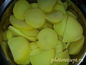 картофель отварной кольцами