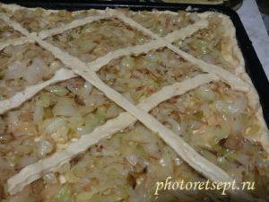 украшаем пирог с капустой