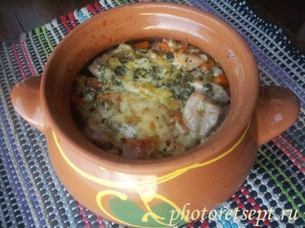 картошка с курицей в горшках в духовке рецепт