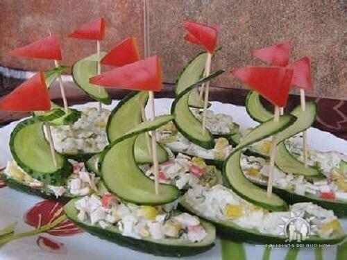 салатики в лодочках из огурца