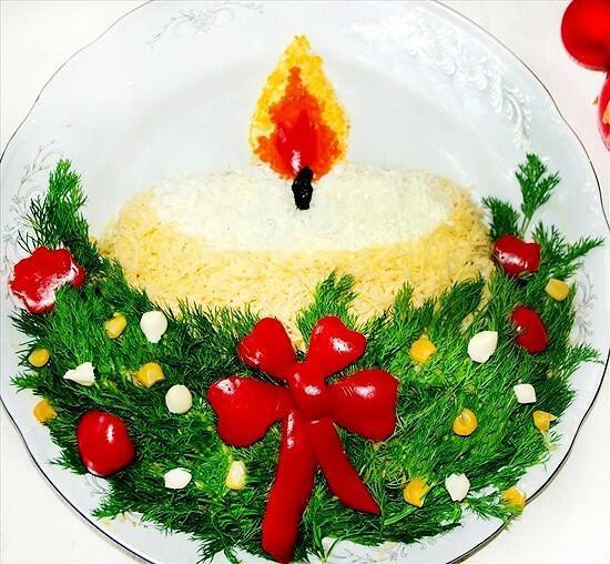 свечка украшение салата