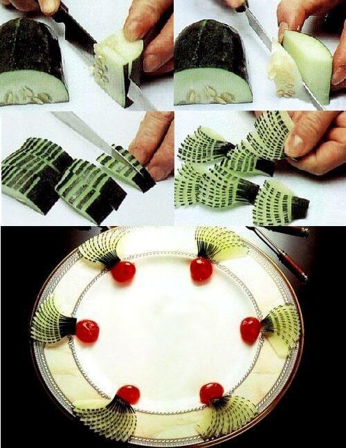 как красиво нарезать огурец