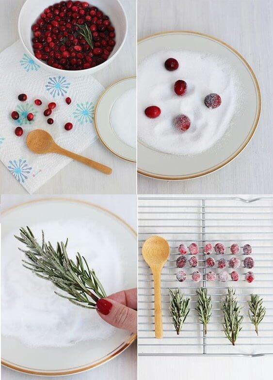 ягоды и зелень для торта