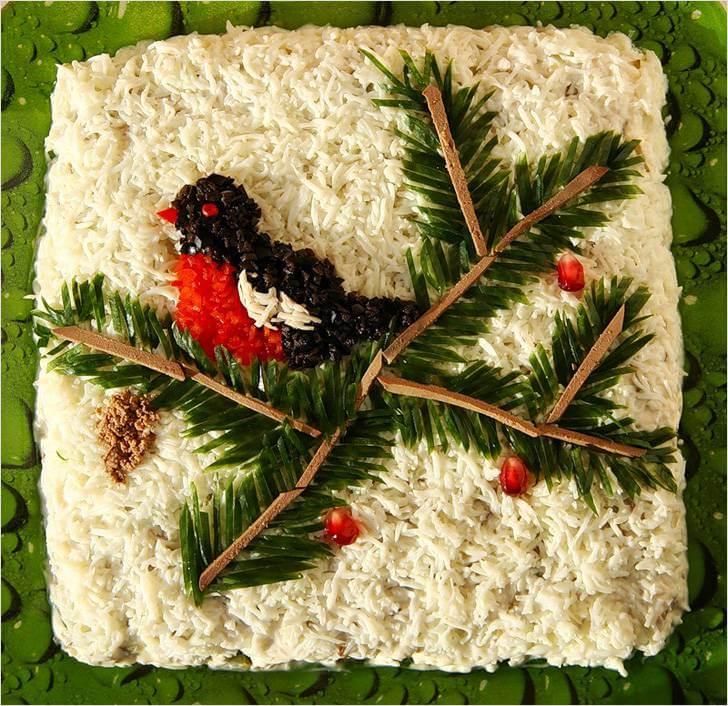 снегири на еловой ветке салат