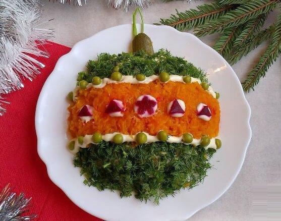 новогодний салат шар
