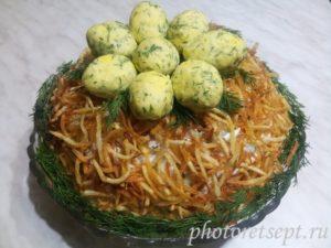 гнездо глухаря салат рецепт