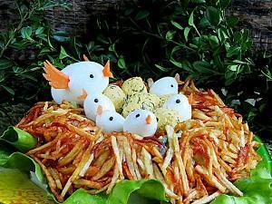 салат глухариное гнездо с копченой курицей рецепт с фото пошагово