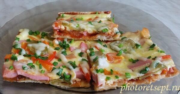 пицца на тонком лаваше