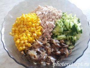 кукуруза грибы курица огурец