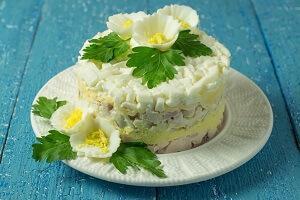 салат печень трески и курица