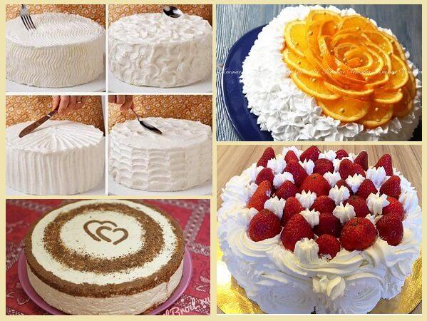 взбитые сливки украшение торта