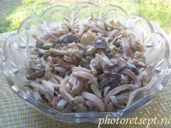 рецепт кальмарового салата фото