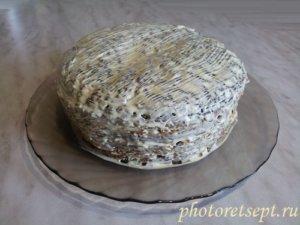 майонезом обмазать тортик печеночный