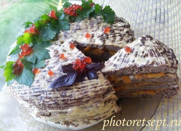торт печеночный в разрезе