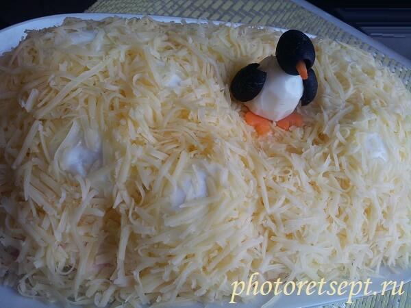 украшение салата сугробы пингвин