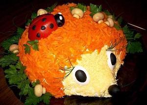 салат ежик с морковью