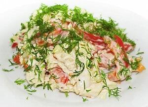 теплый царский салат кальмарами
