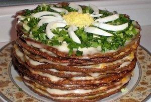 торт из печени классический