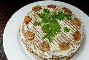 торт из печени с грибами