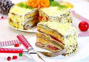 торт из печени с кабачками
