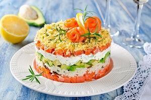 царский салат с творожным