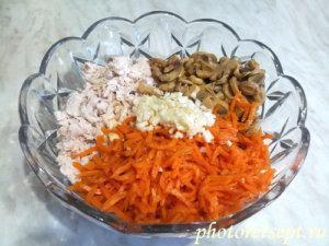 чеснок в салат с курицей и морковью