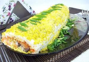 салат рулет с рыбой
