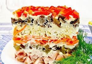 салат вкусный с курицей и корейской морковкой