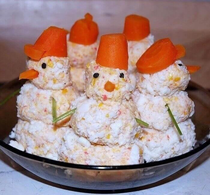 снеговик салат