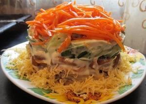 salat-s-kuritsey-gribami-ogurtsami
