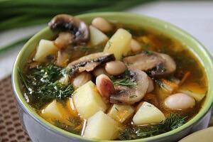 суп с шампиньонами с фасолью