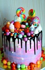 детский торт печенье и конфеты 1