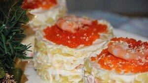 салат с креветками икра