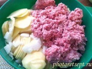 картофель фарш лук