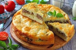 картофель заливной пирог мясо