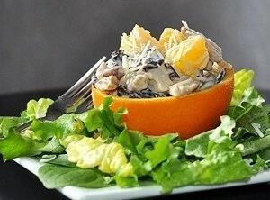 мандарины сыр салат курица грибы