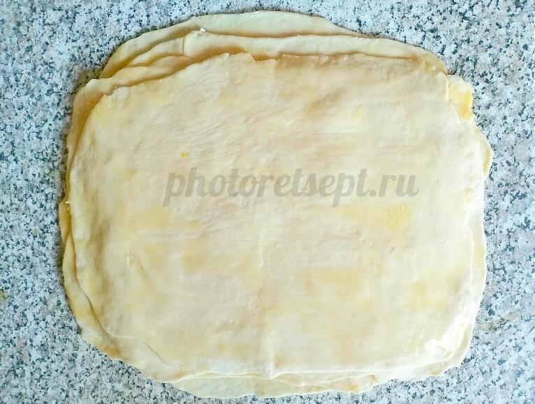 6 слоями тесто маслом
