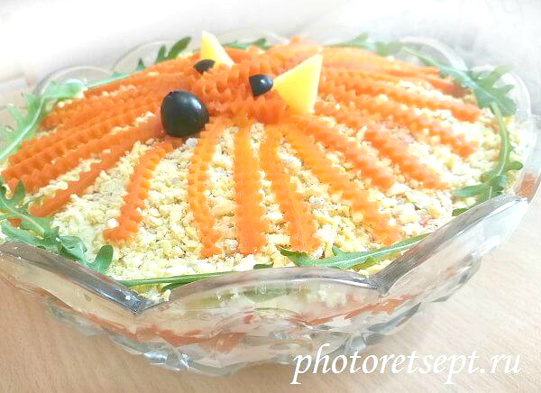 salat-lisya-shubka-sloi1