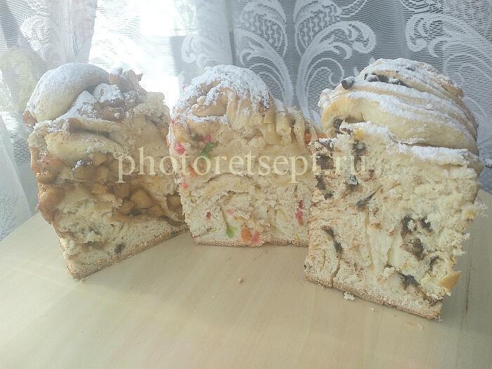краффины слоеные куличи яблоки шоколад разрез