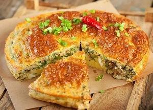 пирог с консервами рисом слоеный