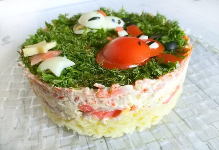 снять кольцо с салата