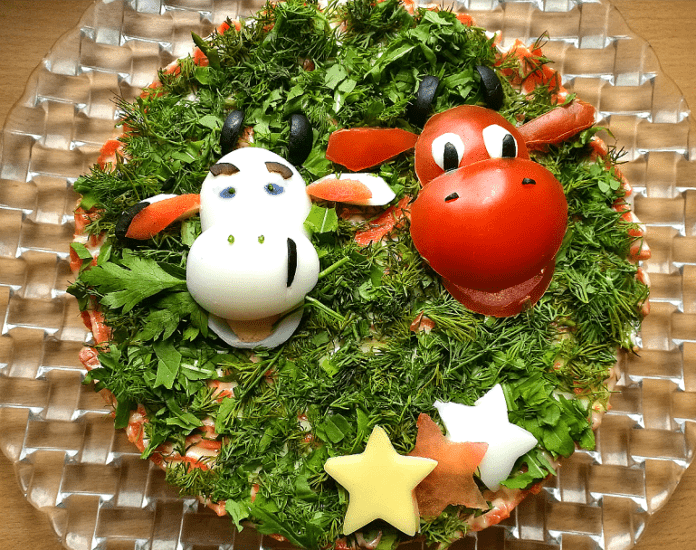 салат бык новогодний на фоторецепт-ru