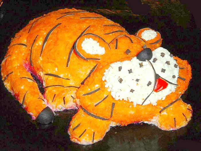 тигр спит оформление салата